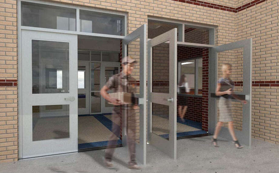 This exterior view shows proposed new NISD bullet-resistant outer lobby the district wants to build in as many as 30 elementary schools. Photo: Courtesy / NISD
