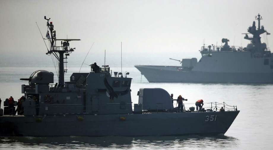 South Korean navy warships patrol  near the West Sea border with North Korea on April 1. North and South Korea have fired artillery  into each other's waters in a flare-up of animosity. Photo: Hong Hae-in / Associated Press / Yonhap