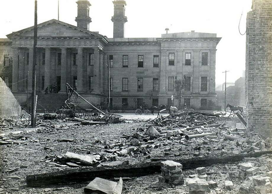 The San Francisco Mint after the earthquake and fire of 1906. It was one of only two major buildings south of Market to remain standing. Photo: Handout, SFC