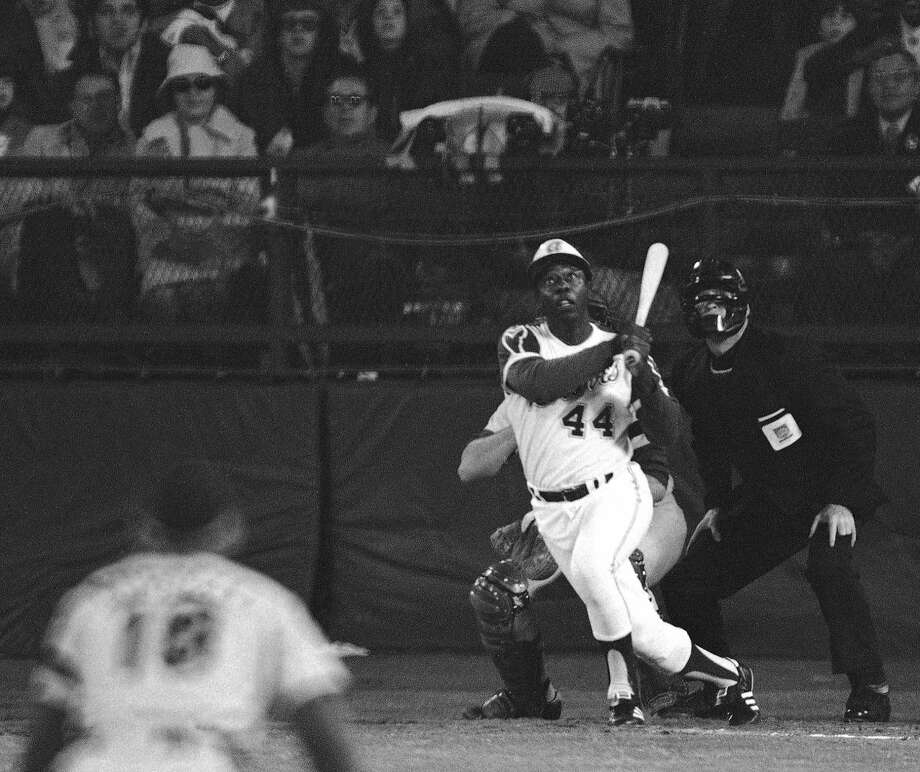 Hank Aaron connected against the Dodgers at Atlanta-Fulton County Stadium on April 8, 1974, to break Babe Ruth's major-league record of 714 home runs. Photo: Harry Harris, Associated Press