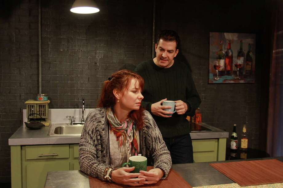 """(For the Chronicle/Gary Fountain, March 16, 2014) Sara Gaston as Sarah, and Sean Patrick Judge as James, in this scene from Main Street Theater's Houston premiere of Donald Margulies' play """"Time Stands Still."""" Photo: Gary Fountain, Freelance / Copyright 2014 by Gary Fountain"""