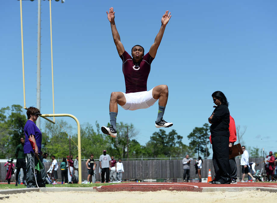Central's Kamon Darby competes in the long jump event during Monday's meet. The District 20-4A track meet was held at Babe Zaharias Park on Monday. Photo taken Monday, 4/7/14 Jake Daniels/@JakeD_in_SETX Photo: Jake Daniels / ©2014 The Beaumont Enterprise/Jake Daniels