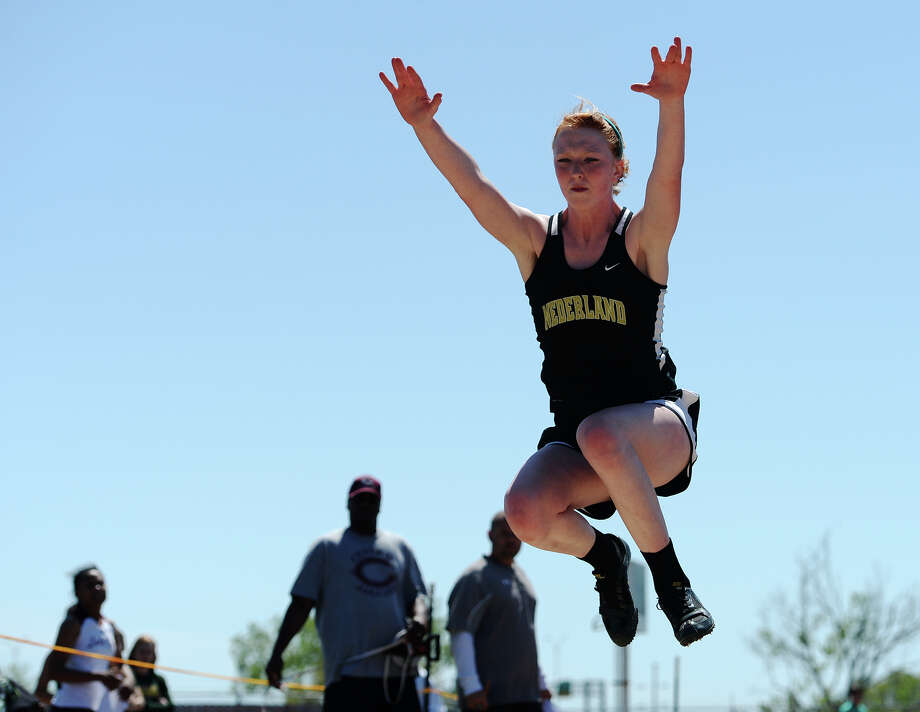 Nederland's Courtney Noel competes in the triple jump event during Monday's meet. The District 20-4A track meet was held at Babe Zaharias Park on Monday. Photo taken Monday, 4/7/14 Jake Daniels/@JakeD_in_SETX Photo: Jake Daniels / ©2014 The Beaumont Enterprise/Jake Daniels