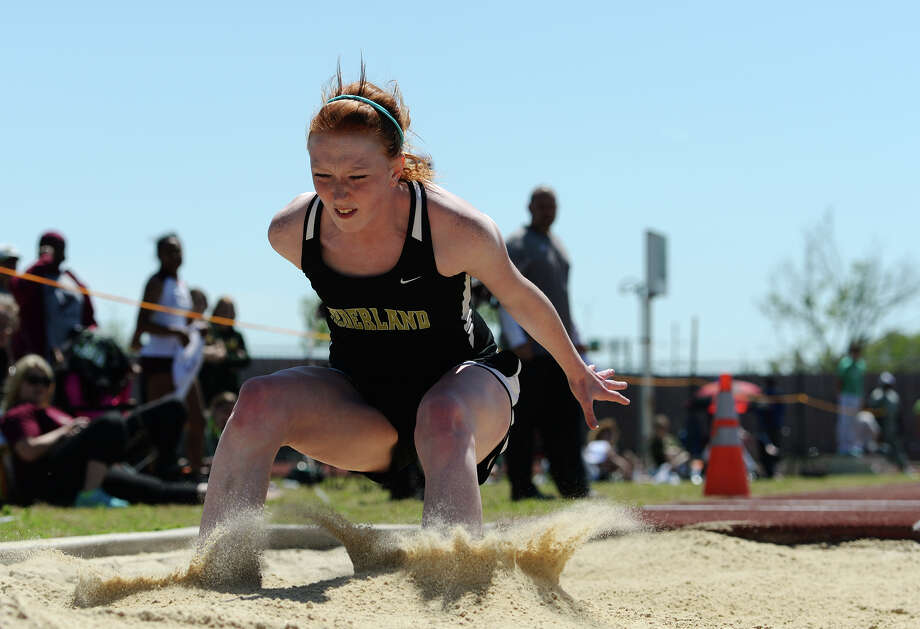 Nederland's Courtney Noel competes in the triple jump event during Monday's meet. The District 20-4A track meet was held at Babe Zaharias Park on Monday.