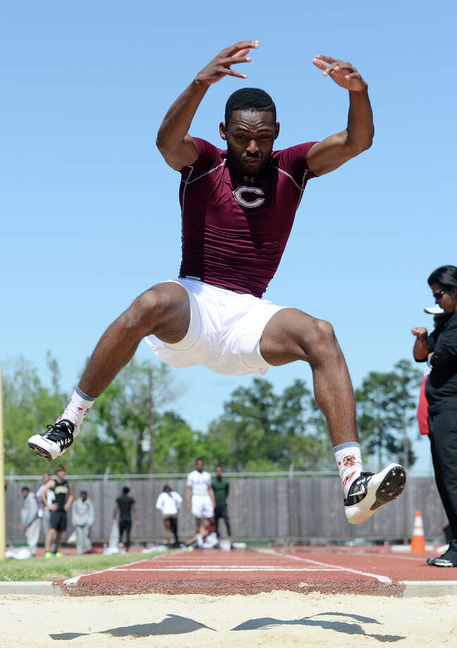 Central's Mike Jacquet competes in the long jump on Monday afternoon. The District 20-4A track meet was held at Babe Zaharias Park on Monday.