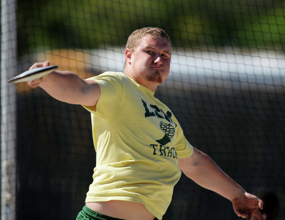 Little Cypress-Mauriceville's Taylor Hulsey competes in the discus event of Monday's meet. The District 20-4A track meet was held at Babe Zaharias Park on Monday.