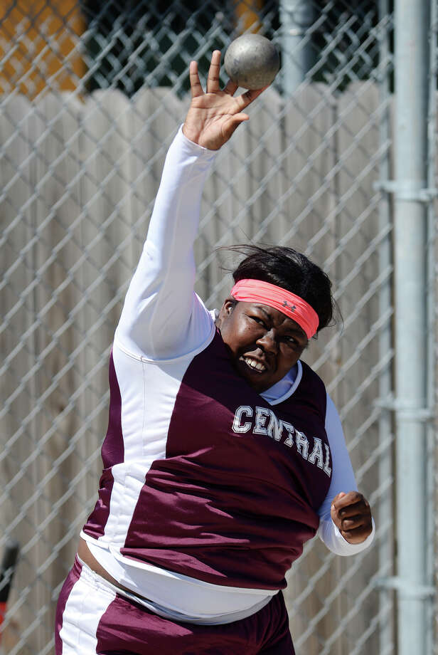 Central's Kaeyshana Hadnot throws during the shot put event of Monday's meet. The District 20-4A track meet was held at Babe Zaharias Park on Monday.