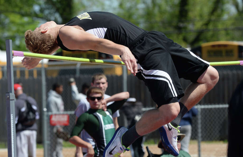 Nederland's Bryce Weber competes in the high jump during a track meet at the Jaguar's stadium on Monday. 