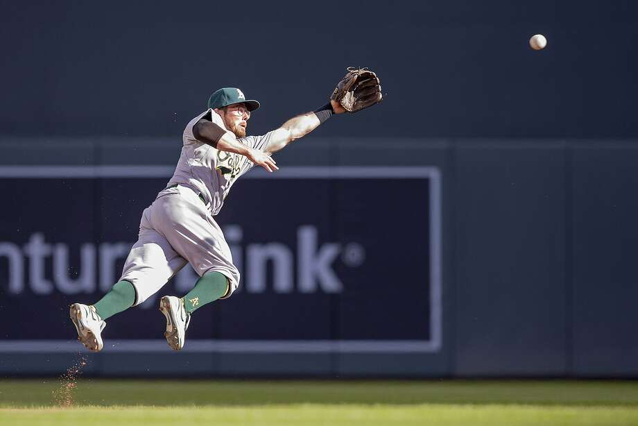 A's second baseman Eric Sogard leaves his feet to snare a line drive in the fourth inning. Photo: Jesse Johnson, Reuters