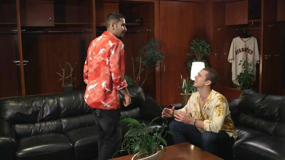 Buster Posey films a Spanish telanovela-themed Giants commercial with teammate Sergio Romo. Photo: San Francisco Giants