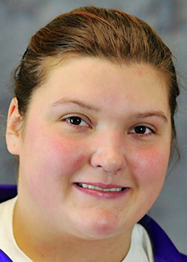 Junior Samantha Kosa of Clifton Park (Shenendehowa) in women?s shot put. (UAlbany)
