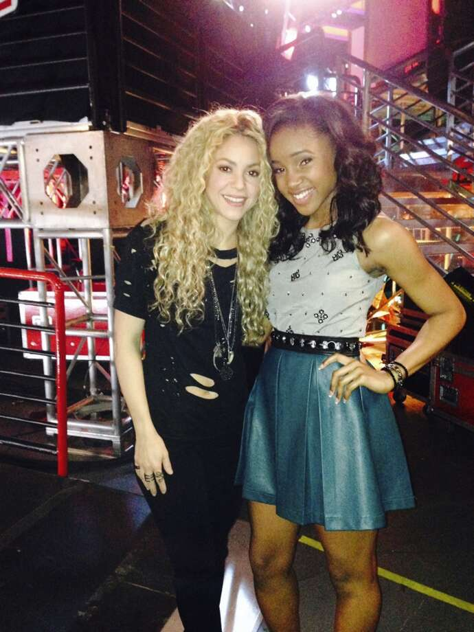 "Deja Hall with her coach on ""The Voice"" Shakira. Photo: Courtesy Photo"