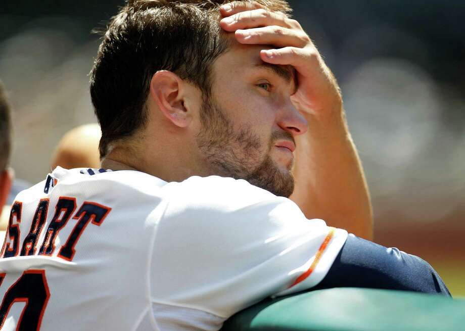Jarred Cosart allowed five runs on three hits and four walks in six innings but was praised by his manager for battling. Photo: Karen Warren, Staff / © 2014 Houston Chronicle