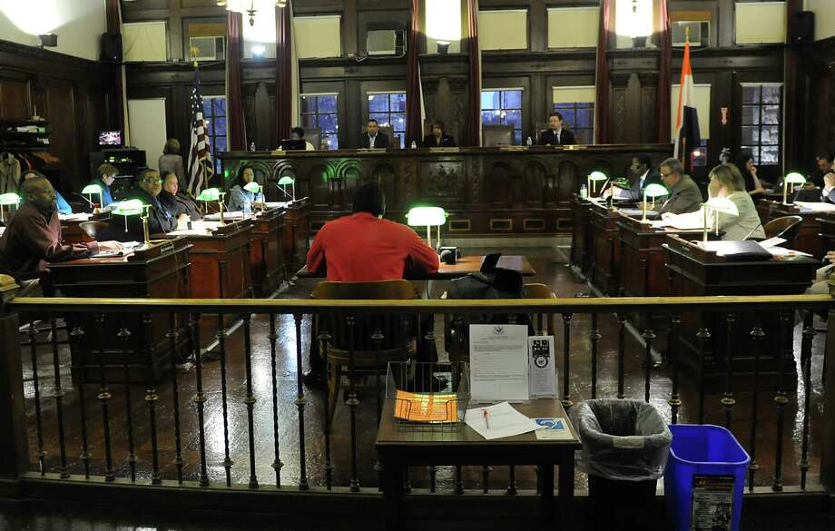 Marlin Anderson of Albany speaks in favor of the idea of a casino in Albany as the Albany Common Council begins consideration of the proposal to build a casino off exit 23 in Albany during Monday nightOs meeting at City Hall April 7, 2014 in Albany, N.Y. (Lori Van Buren / Times Union) Photo: Lori Van Buren / 00026409A