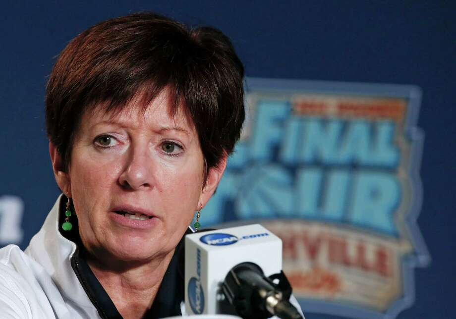 Notre Dame head coach Muffet McGraw answers questions during a news conference at the NCAA women's Final Four college basketball tournament Monday, April 7, 2014, in Nashville, Tenn. Notre Dame is scheduled to face Connecticut in the championship game Tuesday. (AP Photo/John Bazemore) Photo: John Bazemore, STF / AP
