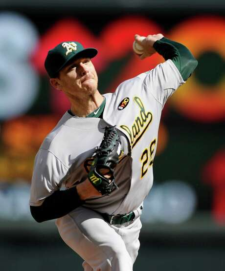 Scott Kazmir, whose mound comeback began two years ago with the Sugar Land Skeeters, went six innings Monday to improve to 2-0 with the Athletics. Photo: Hannah Foslien, Stringer / 2014 Getty Images
