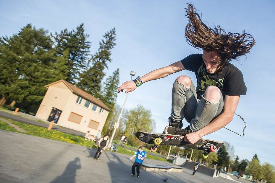 A Dangel gets his wings:Joe Dangel launches off a quarter pipe at the Rotary Park skate park in Centralia, Wash. Photo: Pete Caster, Associated Press