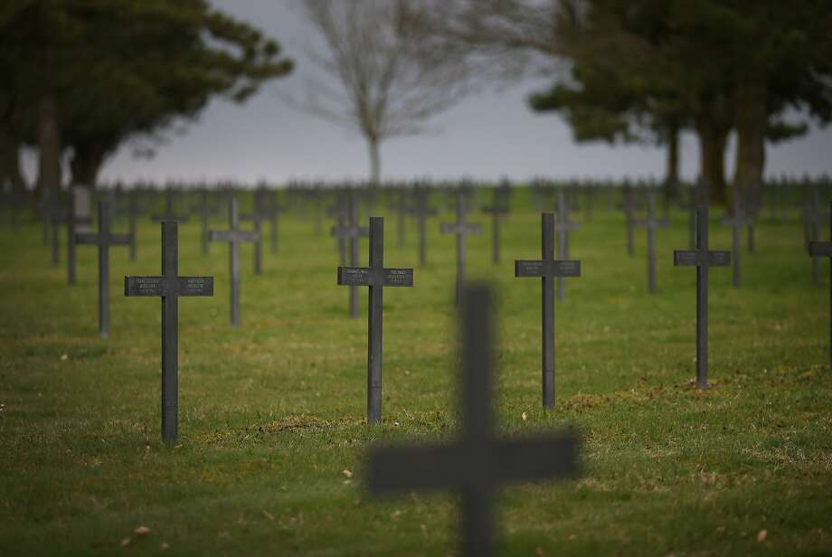 Crosses mark the graves of 44,833 German soldiers buried at the largest World War One cemetery in France in Neuville-Saint Vaast, France. A number of events will be held this year to commemorate the centenary of the start of World War One. Photo: Peter Macdiarmid, Getty Images