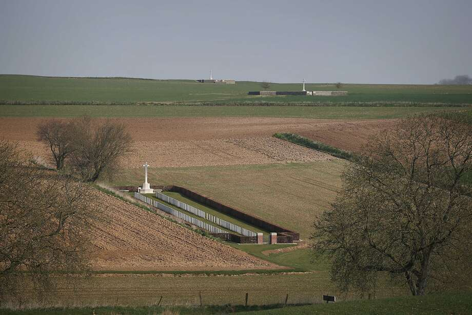 The battlefield of the Somme contains many cemeteries - Beaumont-Hamel (front), Redan Ridge Cemetery No.2 (R) and Redan Ridge Cemetery No. 3 (top) in Beaumont-Hamel, France. A number of events will be held this year to commemorate the centenary of the start of World War One. Photo: Peter Macdiarmid, Getty Images