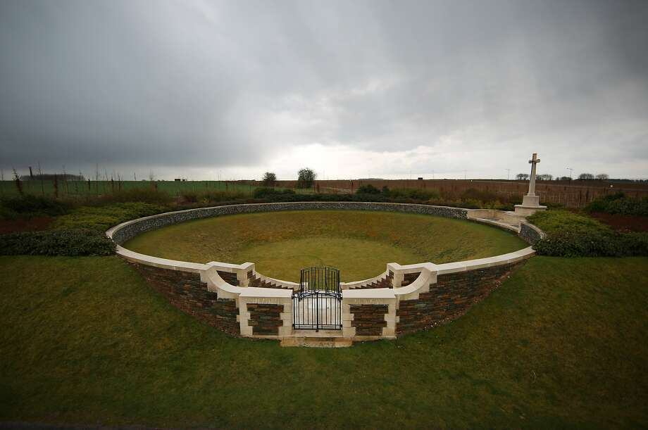 The Zivy Crater cemetery contains the graves of 53 First World War soldiers all of whom died in 1917 on the Vimy battlefield in Thelus, France. The cemetery is in the crater made from a mine explosion. A number of events will be held this year to commemorate the centenary of the start of World War One. Photo: Peter Macdiarmid, Getty Images