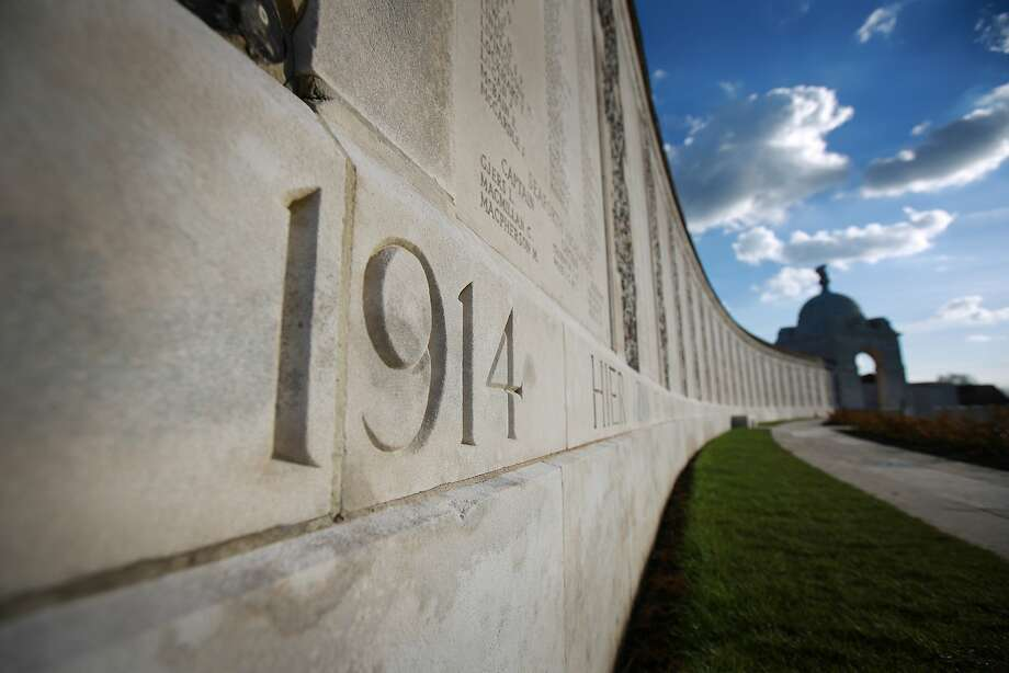 Names of missing soldiers are inscribed above the 1914 date on panels at Tyne Cot Commonwealth War Graves Commission Memorial in Passchendaele, Belgium. Tyne Cot is the largest Commonwealth war cemetery in the world. There are 11,956 Commonwealth servicemen of the First World War buried or commemorated here. A number of events will be held this year to commemorate the centenary of the start of World War One. Photo: Peter Macdiarmid, Getty Images