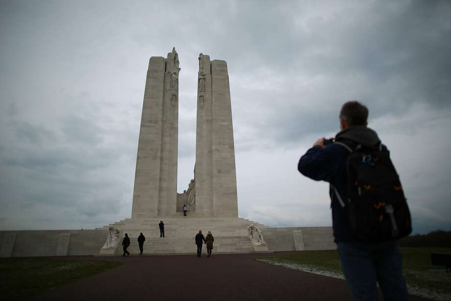 Visitors walk towards the Canadian National Vimy Memorial in Vimy, France. A number of events will be held this year to commemorate the centenary of the start of World War One.  Photo: Peter Macdiarmid, Getty Images