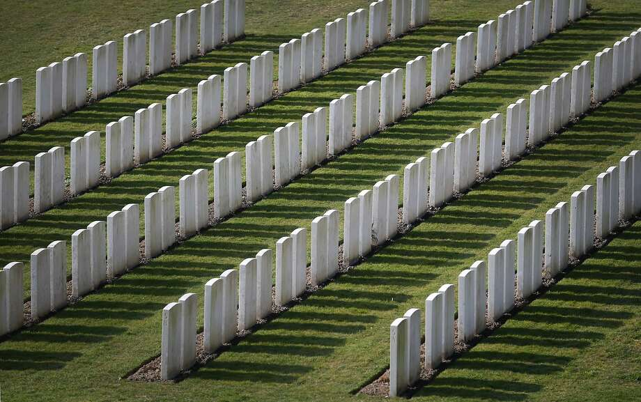 Etaples Military Cemetery in Etaples, France. The Lutyens designed cemetery is the Commonwealth War Graves Commission's largest in France - it contains 10,771 Commonwealth burials from the First World War. A number of events will be held this year to commemorate the centenary of the start of World War One.  Photo: Peter Macdiarmid, Getty Images