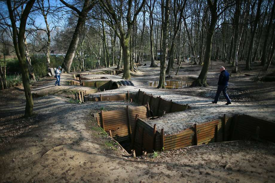 Visitors to Sanctuary Wood Museum Hill 62 look at trenches near Ypres, Belgium. A number of events will be held this year to commemorate the centenary of the start of World War One. Photo: Peter Macdiarmid, Getty Images