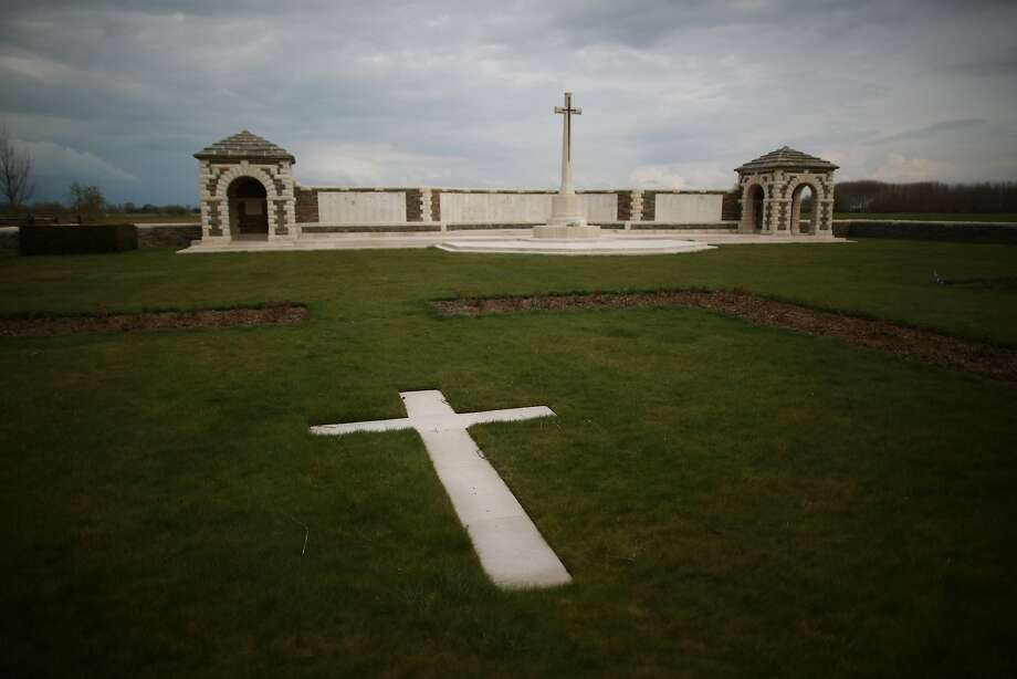 The Cross of Sacrifice stands over the V.C. Corner Australian cemetery in Fromelles, France. A number of events will be held this year to commemorate the centenary of the start of World War One. Photo: Peter Macdiarmid, Getty Images