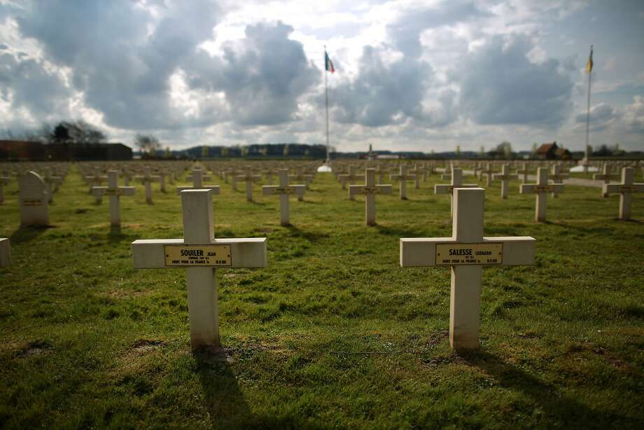 Crosses mark the graves of French soldiers near Saint Julien, Belgium. A number of events will be held this year to commemorate the centenary of the start of World War One. Photo: Peter Macdiarmid, Getty Images