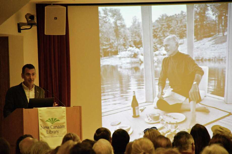 """In a lecture Sunday, April 6, at the New Canaan Library called """"The Glass House, Reconsidered,"""" Henry Urbach, the historic site's director, shared the history of Philip Johnson and the famous New Canaan construction. Jarret Liotta/For the New Canaan News Photo: Contributed / New Canaan News Contributed"""