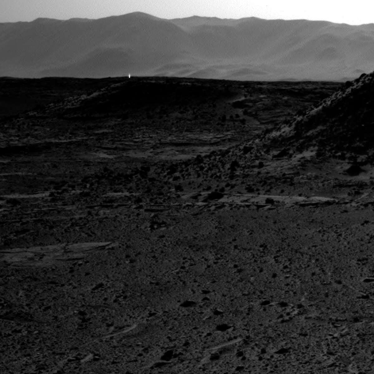 Cropped: This image was taken by Navcam: Right B (NAV_RIGHT_B) onboard NASA's Mars rover Curiosity on Sol 589 (2014-04-03 10:00:03 UTC).