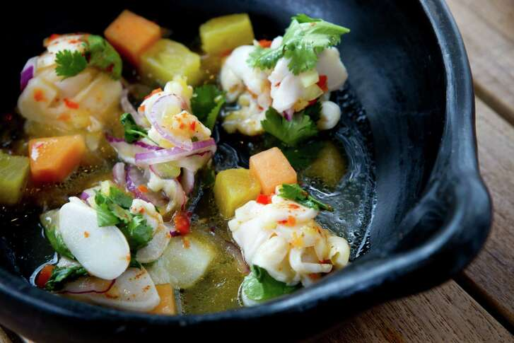 Ceviche de Caracol, with conch, pineapple, ginger and red jalapeé±o at Caracol