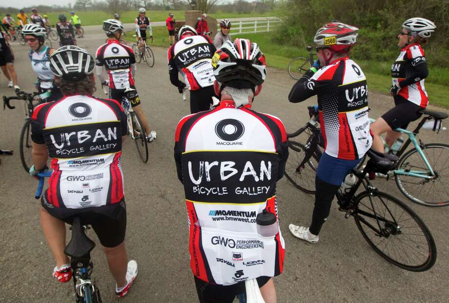 Riders with the Urban Bicycle Gallery team got a chance to show off the team's jerseys during a practice ride in late March at Willow River Farms. Photo: J. Patric Schneider, Freelance / © 2014 Houston Chronicle