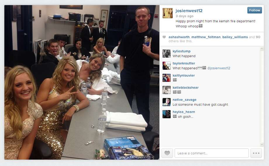 Around 50 teenagers piled into the Kemah Fire Station after being caught with bottles of booze on their prom night charter bus. Photo: Instagram