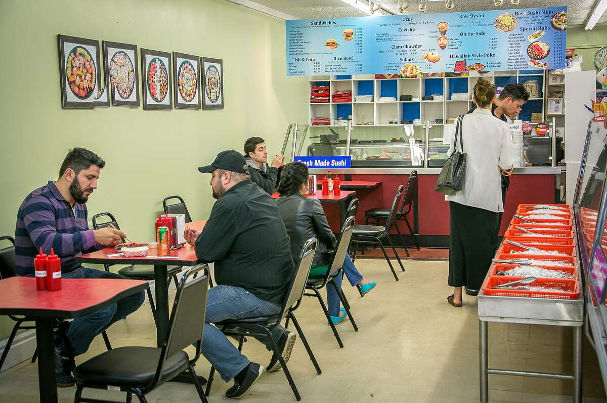 Diners have lunch at Basa Seafood Express in San Francisco, Calif., on March 28th, 2014.