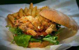 The Soft Shell Crab burger at Basa Seafood Express in San Francisco, Calif., is seen on March 28th, 2014.