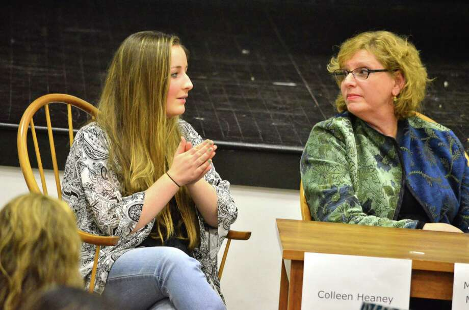 Colleen Heaney, one of the three Students Against Destructive Decisions, spoke on the panel and answered questions from parents on Wednesday, April 2 at the DArien town Hall. Photo: Megan Spicer / Darien News