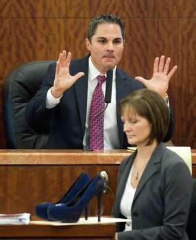 Prosecutor John Jordan gives his closing argument in the trail against Ana Lilia Trujillo Tuesday, April 8, 2014, in Houston. Trujillo, 45, is charged with murder, accused of killing her 59-year-old boyfriend, Alf Stefan Andersson with the heel of a stiletto shoe, at his Museum District high-rise condominium in June 2013. Photo: Brett Coomer, Houston Chronicle / © 2014 Houston Chronicle