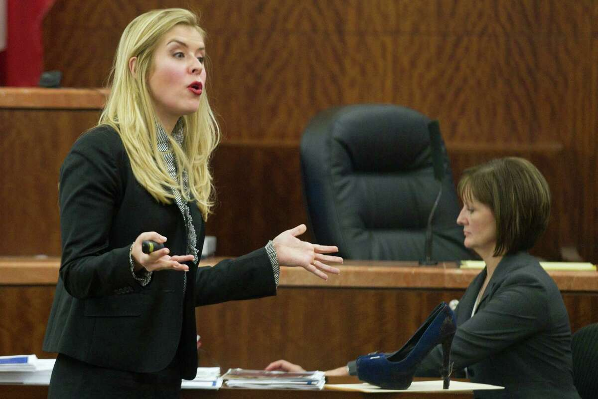 Prosecutor Sarah Mickelson gives her closing argument in the trail against Ana Lilia Trujillo Tuesday, April 8, 2014, in Houston. Trujillo, 45, is charged with murder, accused of killing her 59-year-old boyfriend, Alf Stefan Andersson with the heel of a stiletto shoe, at his Museum District high-rise condominium in June 2013.