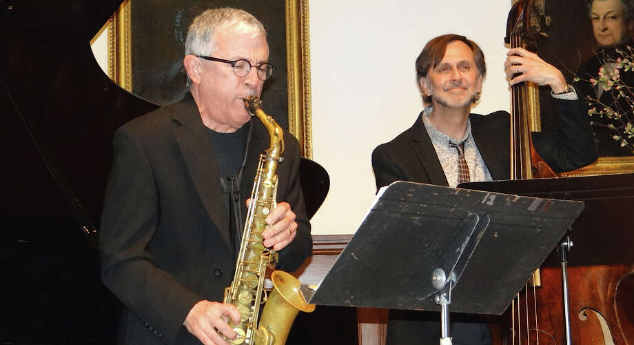 Tim Moran and Brian Torff performing in a tribute concert to jazz legend Dave Brubeck, hosted by the Westport Arts Center at the Pequot Library on Sunday afternoon. Photo: Mike Lauterborn / Fairfield Citizen
