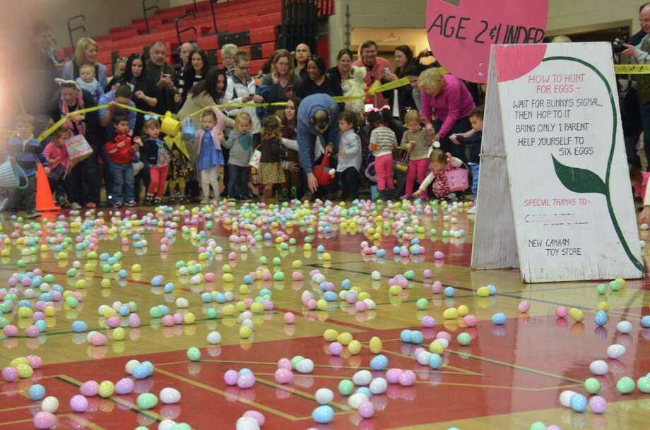 Eggs galore at the Young Women's League Annual Easter Egg Hunt on Saturday, April 5, 2014, held at New Canaan High School. Photo: Jeanna Petersen Shepard, Freelance Photo / New Canaan News freelance