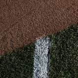 A freshly painted line is seen where it meets the infield skin on opening day at AT&T Park on April 8, 2014 in San Francisco, Calif. In their opening day game, the San Francisco Giants face the Arizona Diamondbacks.