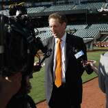 Giants President and CEO Larry Baer speaks to media on opening day at AT&T Park on April 8, 2014 in San Francisco, Calif. In their opening day game, the San Francisco Giants face the Arizona Diamondbacks.