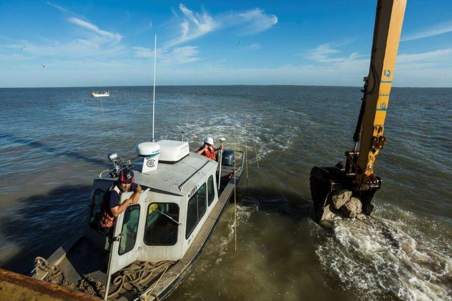 The US army Corps of Engineers Galveston District will place the last of 54 acres of artifical reef in place in Matargorda Bay Friday.