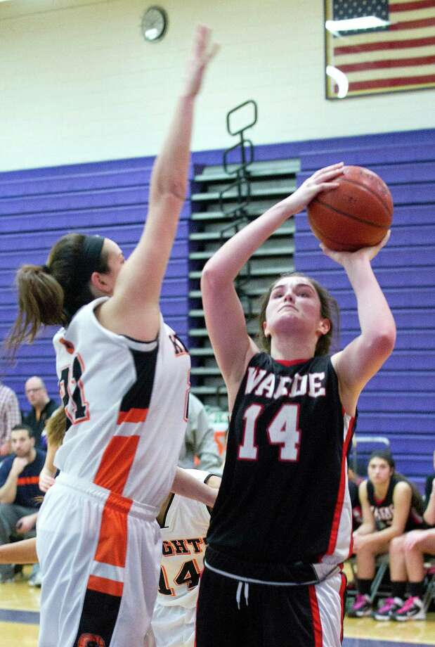 Fairfield Warde's Kaitlin McKenna puts up a shot during Saturday's FCIAC girls basketball quarterfinal game against Stamford High School at Westhill High School on February 22, 2014. Photo: Lindsay Perry / Stamford Advocate