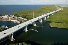 At this time of year, traffic on the Florida Keys Overseas Highway is usually much heavier than in this photo taken in October 2009 near Key Largo.