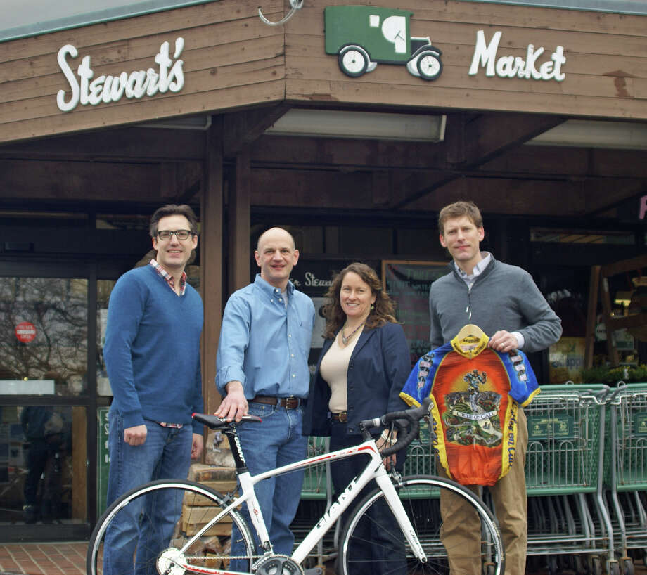 From left, Doug Stewart, Lou Kozar, Ann Kozar and Alex Stewart are sponsoring New Canaanís cycling club. Photo: Contributed Photo, Contributed / New Canaan News Contributed