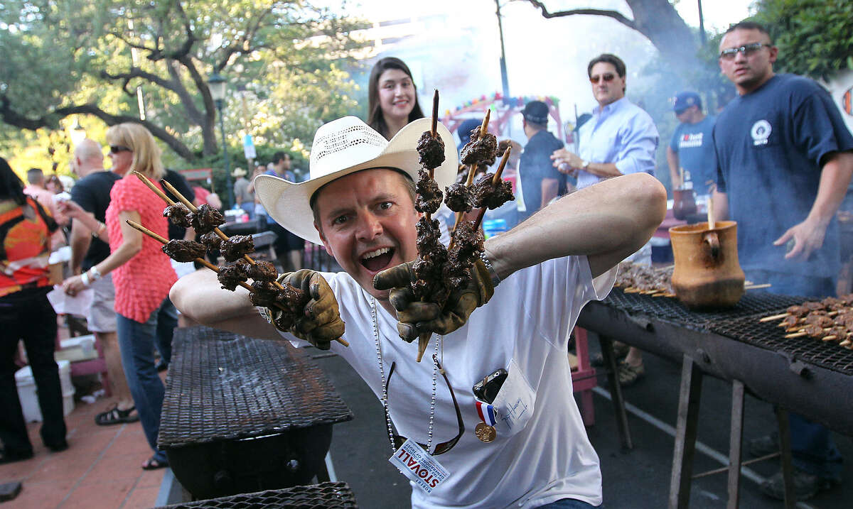 1. We go wild for beefy anticuchos-on-a-stick, the Fiesta staple at Night in Old San Antonio.