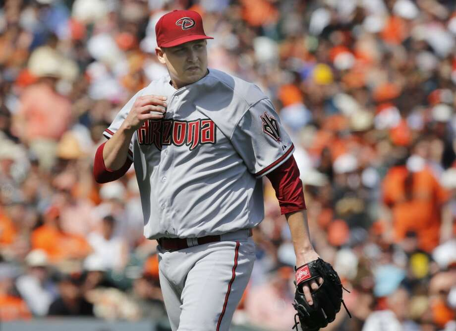 Diamondbacks starting pitcher Trevor Cahill, (35) gets out of the third inning with the San Francisco Giants leading the Arizona Diamondback 5-1 during Giants home opener at AT&T Park on Tuesday April 8, 2014, in San Francisco, Calif. Photo: Michael Macor, The Chronicle